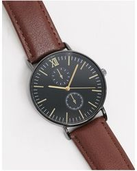 TOPMAN Leather Chronograph Watch - Brown