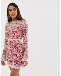 Talulah Ate - Robe courte avec superposition en dentelle - Rose