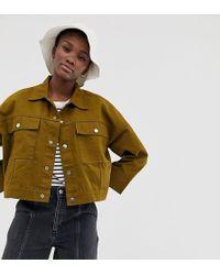 Weekday - Tenille Denim Jacket In Khaki - Lyst