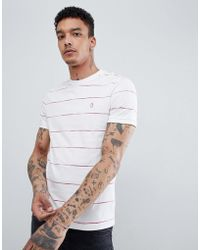 Original Penguin - Space Dye Stripe T-shirt Slim Fit Embroidered Logo In White - Lyst