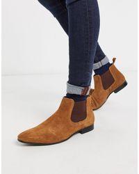 Moss Bros Светло-коричневые Замшевые Ботинки Челси Moss London-светло-коричневый