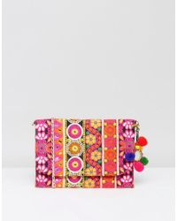 Park Lane - Embroidered Clutch Bag With Pom Pom Detail And Detachable Strap - Lyst