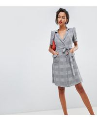 Mango Wrap Front Check Dress In Gray