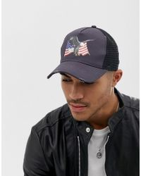 ASOS - Trucker Cap In Black With Eagle   Flag Design - Lyst 18172344ac56