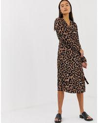 B.Young Vestito a portafoglio con stampa leopardata - Multicolore