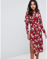 Flynn Skye Floral Midi Dress - Red