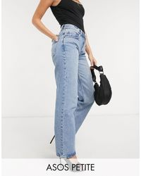 ASOS Asos Design Petite Recycled Mid Rise '90's' Straight Leg Jeans - Blue