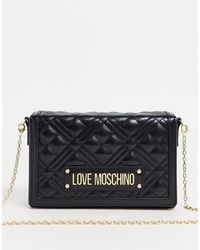 Love Moschino Doorgestikte Crossbody-tas - Zwart