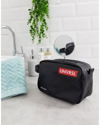 ASOS Toiletry Bag In Black With Red Text Detail