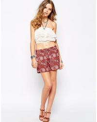 First & I - Festival Print Woven Shorts - Lyst