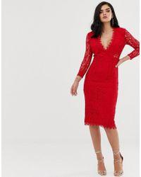 ASOS Vestido de tubo midi de manga larga con encaje - Rojo