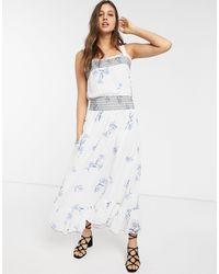 We Are Kindred Havana Shirred Floral Midi Dress-white