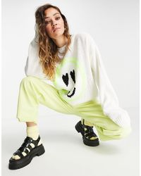 ASOS Jumper With Face Pattern - White