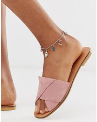 ASOS Anklet With Mystical Charms And Hamsa Hand Pendants In Silver Tone - Metallic