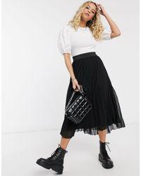 Bershka Jupe mi-longue plissée à taille élastique - Noir