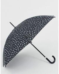 Lulu Guinness Kensington Pewter Scattered Lip Umbrella - Black