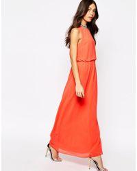 Oasis Embellished Neck Maxi Dress - Orange
