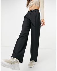 Y.A.S Suit Wide Leg Trousers With Tab Button Up Waist - Black