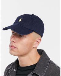 Polo Ralph Lauren Baseball Cap With White Player Logo In Navy - Blue
