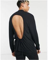 ASOS Asos Desjgn Muscle Fit Long Sleeve Viscose Turtle Neck T-shirt With Open Back - Black
