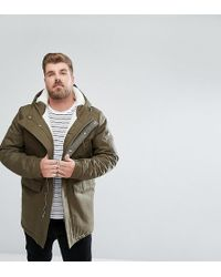 Bellfield - Plus Borg Lined Parka With Hood - Lyst
