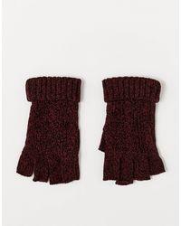 ASOS – Fingerlose Strickhandschuhe mit Zopfmuster - Rot