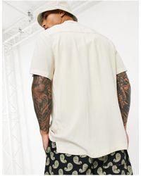 ASOS Regular Viscose Shirt With Revere Collar - Natural