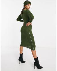 Naanaa Zip Side Split Midi Sweater Dress With Matching Headband - Green