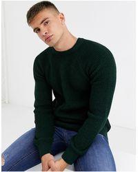 New Look Raglan Tuck Stitch Crew Neck Sweater - Green