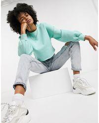 TOPSHOP Cropped Sweatshirt - Blue