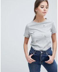 Oasis - Floral Embroidered T Shirt - Lyst