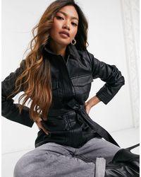 AX Paris Черная Куртка Из Искусственной Кожи В Стиле Милитари -черный
