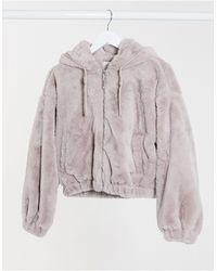Bershka Faux Fur Cropped Jacket - Purple