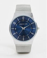 Christin Lars - Christian Lars Mens Silver Mesh Bracelet Watch - Lyst