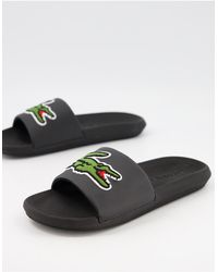 Lacoste Croco Slides With Large Logo - Black