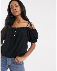 ASOS Cold Shoulder Top With Puff Sleeve - Black