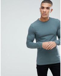 ASOS - Muscle Fit T-shirt With Long Sleeves - Lyst