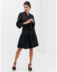 Closet Closet Wrap Over Tie Waist Skirt - Black