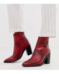 ASOS Bluebell - Eenvoudige Westernlaarzen Met Brede Pasvorm - Rood