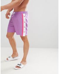 ASOS Swim Shorts In Lilac & Pink With Popper Detail In Mid Length - Purple