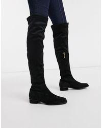 Karen Millen Olivia Over The Knee Flat Boots - Black