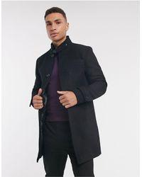 Jack & Jones Шерстяное Пальто С Воротником-трубой Premium-черный