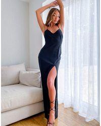 Vesper Черное Платье Макси На Бретельках -черный Цвет
