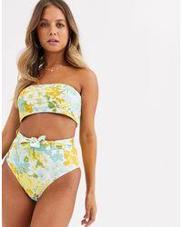 Faithfull The Brand Faithfull Lucy Floral Bandeau And High Waist Bikini-yellow