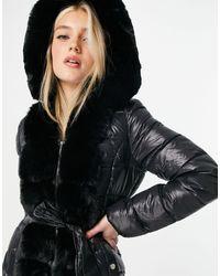 Lipsy Giacca imbottita lunga nera con cappuccio - Nero