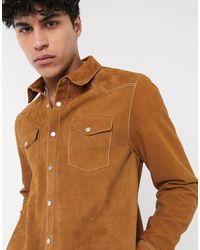 ASOS – Hemdjacke aus Leder im Westernstil, mit farblich abgesetzten Nähten - Braun