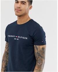 Tommy Hilfiger - Темно-синяя Футболка С Вышитым Логотипом-флагом -темно-синий - Lyst