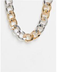 ASOS – Halskette mit klobigen Gliedern aus verschiedenen Metallen - Mettallic