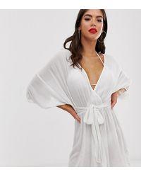 ASOS Asos Design Tall Plunge Tie Waist Kimono Sleeve Crinkle Beach Cover Up - White