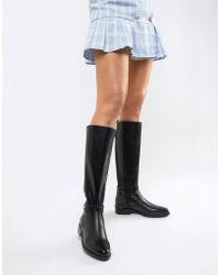 Dune - Traviss Black Leather Over The Knee Riding Flat Boots - Lyst